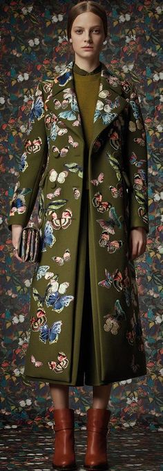 I adore this coat a valentine from valentino for alice girls that love to flutter Valentino Pre-Fall 2014 Butterfly Embroidered Maxi Coat Pattern