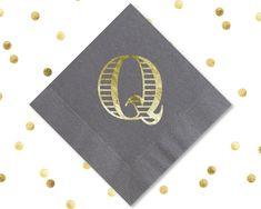 Q Monogram Napkins Wedding Napkins Foil Personalized Napkins Wedding Favors Anniversary Party Favors Housewarming Gift Custom Monogram by SipHipHooray