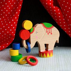 Wooden toy Circus Elephant pcs) Animal toys Developing wooden toy for the child Nature table Waldorf toy Toy for kids Friendly eco toy Pet Toys, Kids Toys, Making Wooden Toys, Tinker Toys, Airplane Toys, Waldorf Toys, Pull Toy, Montessori Toys, Disney Toys