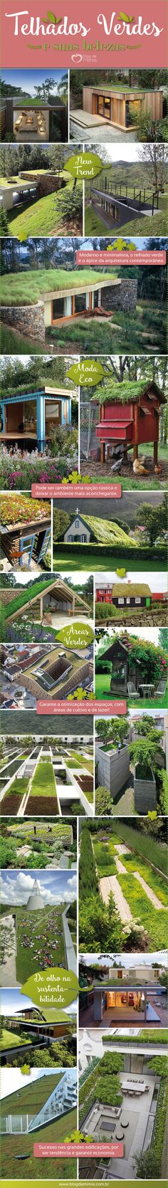Telhados verdes: as vantagens de apostar nessa ideia Green Architecture, Sustainable Architecture, Architecture Design, Environmental Engineering, Living Roofs, Exterior Remodel, Green Life, Green Building, Future House