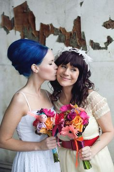bride + maid of honor pic. @Dani Conroy lets dye your hair blue for your wedding ;)