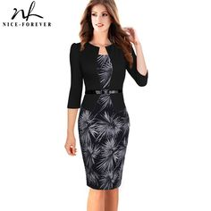 Buy  Nice-forever One-piece Faux Jacket Brief Elegant Patterns Work dress Office Bodycon Female 3/4 Or Full Sleeve Sheath Dress b237 .....Please Click Link To Check Price