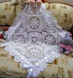 Кружевное одеяло для новорожденного малыша крючком - описание, схемы+фото