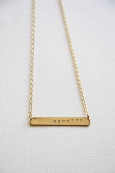 hand stamped Namaste necklace/ yoga jewelry/ handmade jewelry/