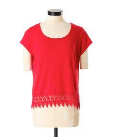 crochet trim tee, SUNSET RED, - bootlegger