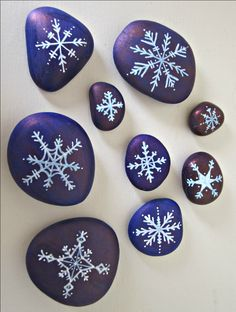 snowflake decorations | snowflake stones - another craft project for the kids