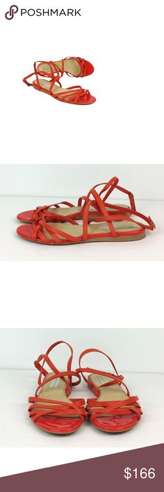 """Stella McCartney- Orange Leather Strappy Sandals Sz 10 Perfect for warm weather, these charming orange leather sandals will flatter your feet. Pair these stylish sandals with a flowy sundress for a flirty, fun look. Size 10 (EU 40) Made in Spain Biodegradable sole Heel strap w/elastic Wrap around ankle strap w/buckle Cross over toe straps Outsole wear Outsole length 10.5"""" Heel height .5"""" Stella McCartney is an English fashion designer with a signature style of sharp tailoring, natural…"""