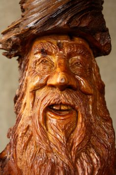 Wood Spirit Wood Carving Unique Christmas by TreeWizWoodCarvings, $175.00