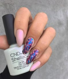 Matte pink nails with foil