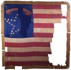 National Colors.  National Colors are the Stars and Stripes, though often with fanciful cantons and varied star patterns.  Significant losses of fabric to many Civil War battle flags are common, and in some cases virtually none of the original flag remains. (5th Regiment, NY Volunteer Infantry, New York State Collection)