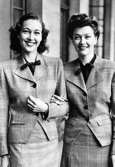 1942: Britain's fashion experts submit their designs to the Board of Trade, which advises changes to facilitate mass production of the clothes. In photo at left: an original costume, left, as submitted by designers, and the approved utility garment, right, which shows little difference between the two suits. At right: the original, left, compared with the smart utility counterpart, right, which was approved by the board at a fashion show in London.