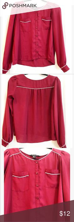 Super cute Burgundy Blouse / white piping pockets This top covers the popular PJ top trend!  Adds a little chic to any outfit!! Color is a Burgundy. Forever 21 Tops Blouses