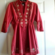 TUNIC Red with gold embroidery Tops Tunics