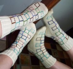 No stranding involved here. Ravelry: Ankle Panes pattern by Lorilee Beltman