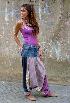 Upcycled Pink Diamond Denim Jean Stripe Shirt Harem by darrylblack