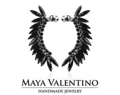 Swarovski Ear cuff Silver ear cuff Bridal by MayaValentino on Etsy Prom Earrings, Prom Jewelry, Jewelry Model, Sapphire Earrings, Cuff Earrings, Climbing Earrings, Silver Rings With Stones, Silver Ear Cuff, Black Crystals