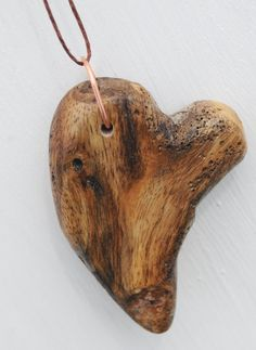Driftwood Heart Necklace Pendant, Reclaimed Wood Jewelry With Brown Hemp Slip…