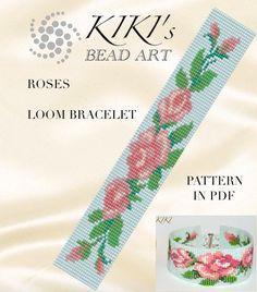 Bead loom pattern Ethnic style LOOM bracelet by KikisBeadArts Loom Bracelet Patterns, Bead Loom Bracelets, Bead Loom Patterns, Peyote Patterns, Beading Patterns, Pattern Cute, Loom Bands, Tear, Loom Beading