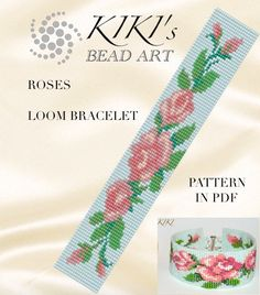 This is an own designed pattern in PDF format, downloadable directly from Etsy.  This pattern is for the roses LOOM bracelet which is created using Japanese delica beads.  The pdf file includes: 1. a large picture of the pattern 2. a large, detailed graph of the pattern, 3. a bead legend with the colour numbers and count of the delica beads for the suggested length 4. a word chart of the pattern.  Please note that my patterns do not include instructions for how to do the LOOM technique.  You…
