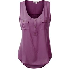 J.TOMSON Womens Sleeveless Blouse w/ Pockets (€15) ❤ liked on Polyvore featuring tops, blouses, pocket tops, sleeveless blouse, purple blouse, purple top and sleeveless tops