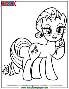 Unicorn Pony Rarity Coloring Page My Little