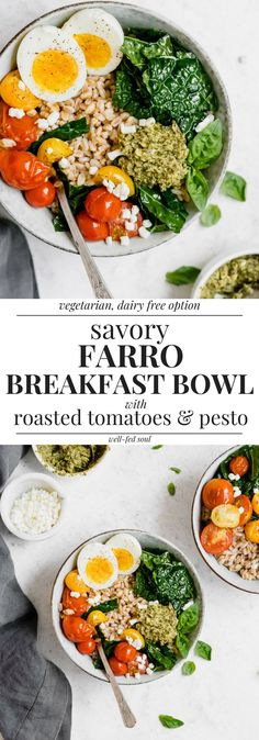 Savory Farro Breakfast Bowl with Roasted Cherry Tomatoes, Pesto, and Goat Cheese is a healthy, nourishing and savory start to your day! Vegetarian Breakfast Recipes, Brunch Recipes, Breakfast Bowls, Breakfast Ideas, Brunch Ideas, Farro Recipes, Whole Food Recipes, Healthy Recipes, Roasted Cherry Tomatoes