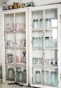 Distressed Antique Curio Cabinet With Mason Jars