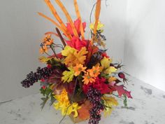 Fall autumn silk centerpiece vibrant colors by BountifulBouquets Thanksgiving Wedding, Thanksgiving Centerpieces, Silk Flower Centerpieces, Party Centerpieces, House Gifts, Artificial Flowers, Silk Flowers, House Colors, Holiday Parties