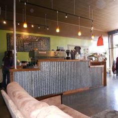 Coffee counter with front of corregated metal | Yelp