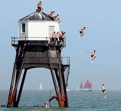 The Thrill of Lighthouse Diving At Dovercourt in Essex England