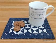 Fabadashery: Blue and White Broken Dishes Quilt Mug Rug
