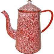 French Granite ware Enamel Coffee Pot, Red & White Speckled Coffee Pot