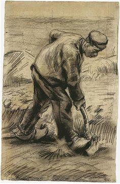 Digger by Vincent Van Gogh - 877 - Drawing