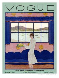 Vogue cover, augustus 1927 Premium giclée print van Georges Lepape bij AllPosters.nl