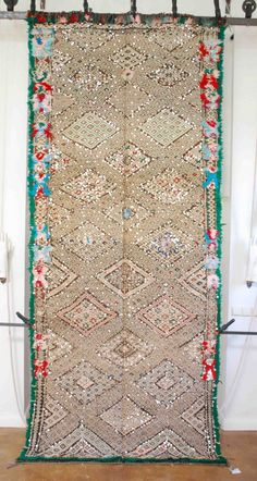 Absolutely stunning Moroccan kilim. Shimmery  glamourous with an incredible fluffy border. Moroccan design. Moroccan decorating. From Red Thread Souk.