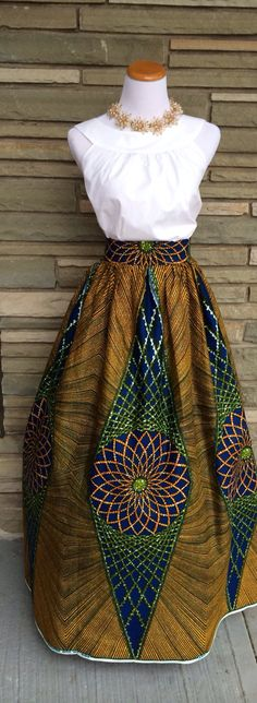 Skirt is gorgeous! The Elizabeth Maxi Skirt- African Print Holland Wax Cotton Maxi Skirt on Etsy. African Inspired Fashion, African Print Fashion, Africa Fashion, Ethnic Fashion, Fashion Prints, African Prints, African Attire, African Wear, African Dress