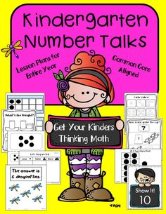 These number talks are perfect for getting your kindergarteners thinking math and participating in academic conversations. They are aligned to common core standards and are engaging, VERY easy to implement. and fun! Number Talks Kindergarten, Kindergarten Math, Teaching Math, Math Classroom, Teaching Ideas, Classroom Ideas, Preschool, First Grade Lessons, First Grade Math