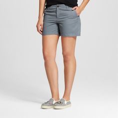 Women's 5 Inseam Chino Short Gray 18 - Merona