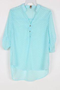 Chevron Chiffon Shirt in Dust Blue