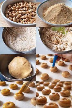 Step by step tutorial - Peanut Cookies Peanut Cookie Recipe, Almond Cookies, Peanut Butter Cookies, Yummy Cookies, Cookie Recipes, Snack Recipes, Cracker Cookies, Biscuit Cookies, Biscuit Recipe