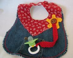 Items similar to Cowboy Denim Bib with Crochet Sheriffs Badge and Pacifier Holder on Etsy Cowboy Denim Bib with Crochet Sheriffs Badge and by Lilibugs Baby Sewing Projects, Sewing For Kids, Sewing Crafts, Quilt Baby, Baby Bibs Patterns, Crochet Patterns, Crochet Baby Bibs, Baby Gifts To Make, Burp Rags