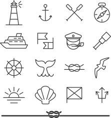 Set of sea icons and design elements in vintage line art - Art Tattoo Doodle Icon, Doodle Art, Mini Tattoos, Small Tattoos, Maritime Tattoo, Nautical Drawing, Nautical Design, Nautical Interior, Neue Tattoos