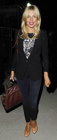 Who made Sienna Miller's jeans and red dress that she wore to the Matthew Williamson Spring/Summer 2011 Fashion Show in London on September 19, 2010? Purse – Prada  Jeans – 7 for Mankind