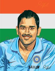 Indian Cricket Captain MS Dhoni Vector Portrait by R.Rajesh  http://www.facebook.com/pilotpencil