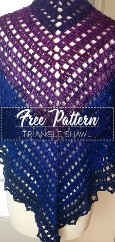 Triangle Shawl – Pattern Free #crochetpattern #crochet #freecrochetpattern #crochetamd #crochetlove #diy #tutorialcrochet #videocrochet #pattern Prayer Shawl Crochet Pattern, Crochet Shawl, Diy Crochet, Crochet Ideas, Crochet Patterns, Tree Patterns, Cowls, Beautiful Crochet, Shawls And Wraps