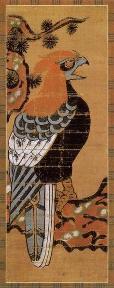 Hawk    Otsu-e (Japanese Folk Painting)  Edo Period, 18th Century