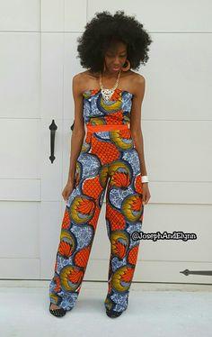 Ankara African Print pants Jumpsuit www.JosephAndElynn.com