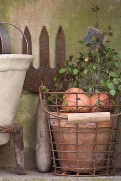 Autumn garden basket and rusty garden tools create a soft vignette. Vintage Garden Decor, Vintage Gardening, Rusty Garden, Garden Pots, Garden Basket, Garden Sheds, Potting Sheds, Potting Benches, Terracota