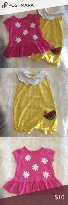 Baby Bundle for 12M! Pink & Yellow Baby Bundle for 12M!                                       • Yellow One Piece with White Collar & Red Watermelon slice: Size: 12 mos., Brand: Okie Dokie!                                     • Pink Top with Yelow and White Flowers: Size: 12 mos., Brand: Okie Dokie!                                                                     • Happy to answer any ?'s!                                                       • Offers are welcome! okie dokie Shirts & Tops…