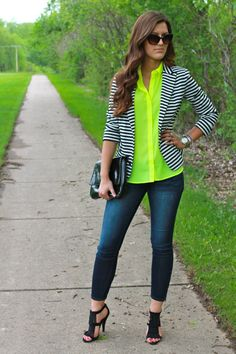 striped blazer and lime green -- a great way to style our Audrey Stripe Blazer for work!